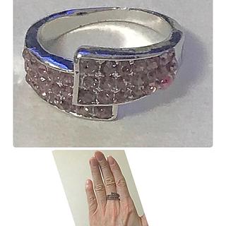 難あり  ピンクラインストーン指輪  (アンティーク品)(リング(指輪))