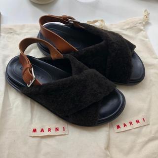 マルニ(Marni)の新品 MARNI マルニ サンダル ファー シューズ 箱付き 37.5 (サンダル)