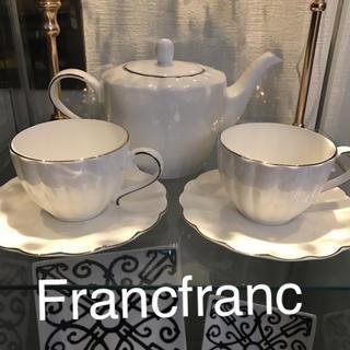 Francfranc - 再入荷❣️Francfrancボーンチャイナ ポット&カップ×2客 新品❣️