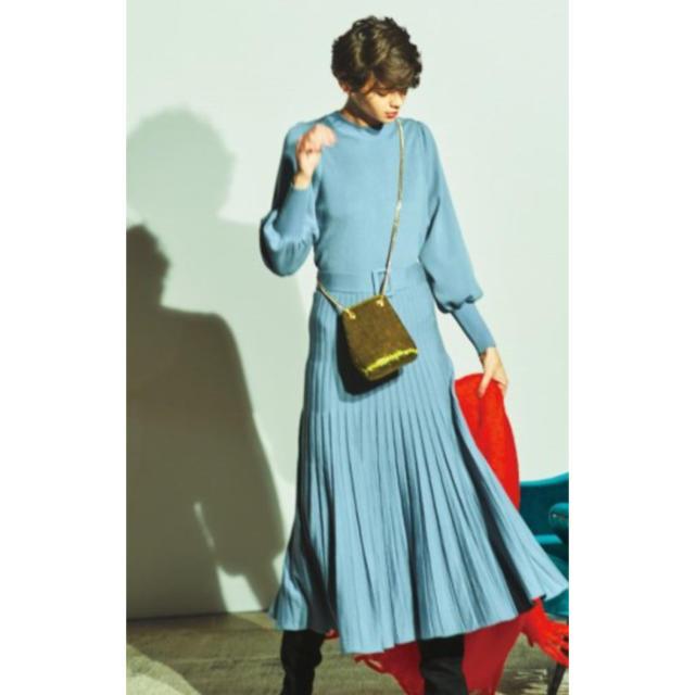 Mila Owen(ミラオーウェン)の完売 ミラオーウェン  袖パフ プリーツ ニットワンピース セットアップ レディースのワンピース(ロングワンピース/マキシワンピース)の商品写真