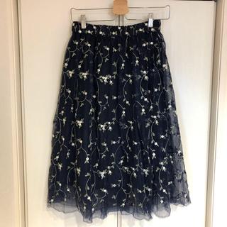 フリーズマート(FREE'S MART)のFREE'S MART 花柄 刺繍 チュールスカート(ひざ丈スカート)