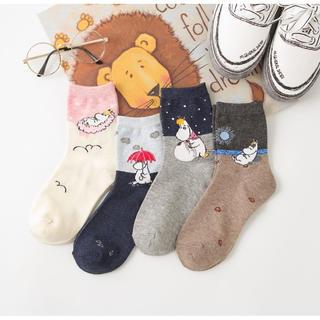 【年末SALE】ムーミンポイントソックス4足セット かわいい 靴下
