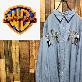 【激レア】ワーナーブラザーズ☆ルーニーテューンズキャラ刺繍ビッグデニムシャツ