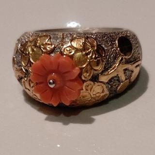 ton様専用 siki  jewelryシルバー×サンゴ フラワーモチーフリング(リング(指輪))