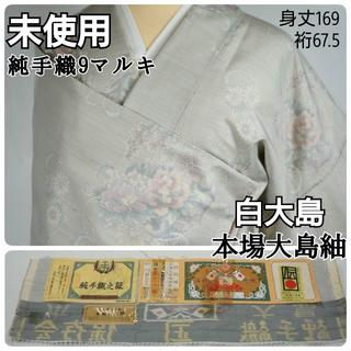 未使用 白大島 純手織 本場大島紬 花柄 牡丹 白 オフホワイト 416(着物)