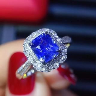 天然非加熱 スリランカ産 コーンフラワーブルーサファイアダイヤモンドリング(リング(指輪))