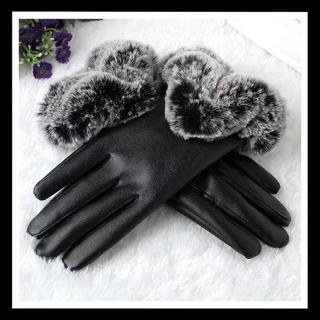 手袋 レディース スマホ操作対応 裏起毛 ブラック