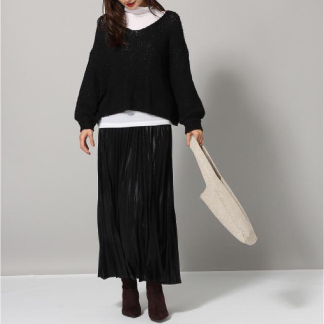 JEANASIS(ジーナシス)の新品JEANASISジーナシス 3GスラブVネックプルオーバー黒Vネックニット綿 レディースのトップス(ニット/セーター)の商品写真