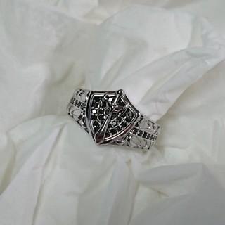 K18WG ブラックダイヤリング メンズ (リング(指輪))