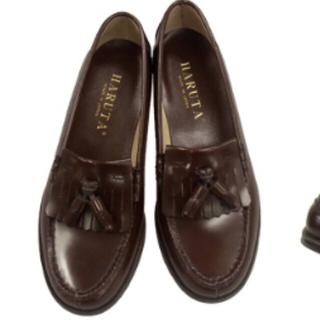 ハルタ(HARUTA)のほぼ未使用 ハルタ ローファー ブラウン 茶色 本革 学生靴 rili (ローファー/革靴)