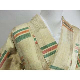 紬着物 ほっこり真綿 絣文様 生成り色系