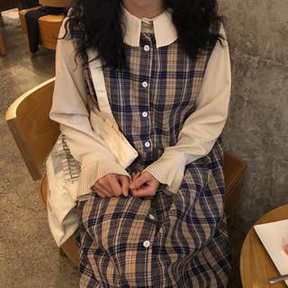 ロングワンピース ジャンパースカート ブラウス付(ひざ丈ワンピース)