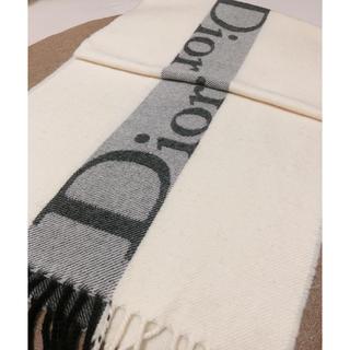 Christian Dior - ロゴマフラー ストール ディオール   ホワイト