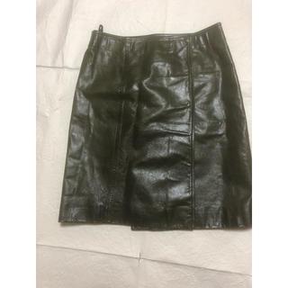 プラダ(PRADA)のプラダ   レザースカート38(ひざ丈スカート)