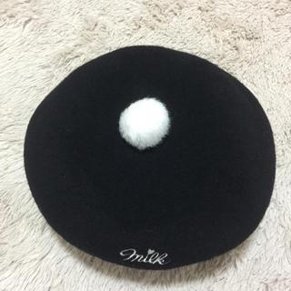ミルク(MILK)のMILK ポンポン付き ベレー帽 黒 (ハンチング/ベレー帽)