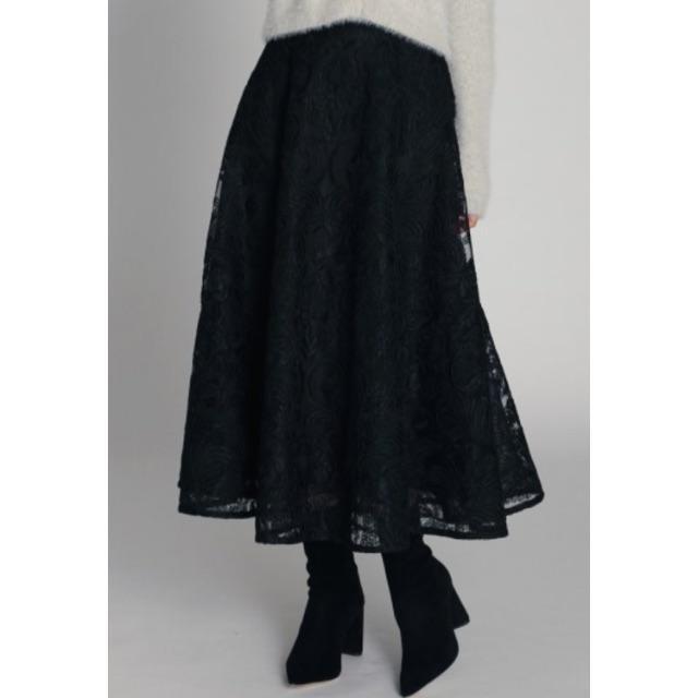 FRAY I.D(フレイアイディー)のコード刺繍レースフレアスカート CELFORD 19AW新品 ブラック 38 レディースのスカート(ロングスカート)の商品写真