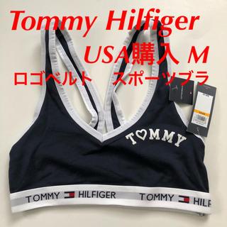 トミーヒルフィガー(TOMMY HILFIGER)のTommy Hilfiger スポーツブラ M ネイビー USA購入 ロゴベルト(ブラ)
