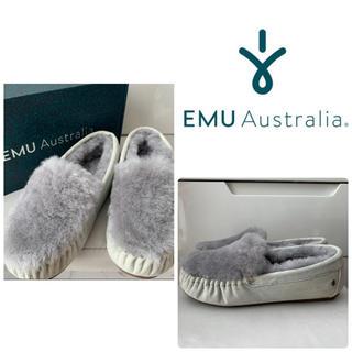 エミュー(EMU)の未使用 美品 emu  ライトデニム シープスキン モカシン(スリッポン/モカシン)