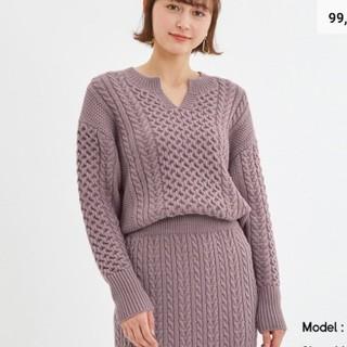 GU - GU ジーユー ケーブルキーネックセーター ニット パープル PURPLE