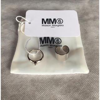 マルタンマルジェラ(Maison Martin Margiela)の19AW新品S メゾンマルジェラ MM6 2連リング 指輪 今期 シルバー(リング(指輪))