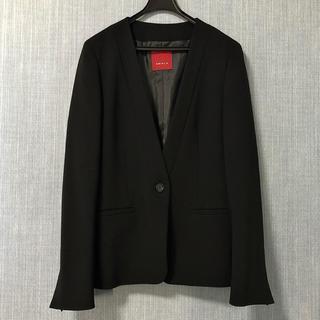 AMACA - AMACA V開きノーカラー  ブラックジャケット