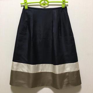 レリアン(leilian)のレリアン 素敵な光沢配色デザインフレアースカート 日本製(ひざ丈スカート)