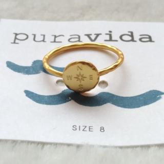 プラヴィダ(Pura Vida)のPura vida リング 指輪 コンパス US 8 ゴールド ロンハーマン取扱(リング(指輪))