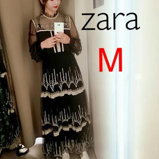 ZARA - 新品 ザラ M 刺繍 チュール レース ワンピース