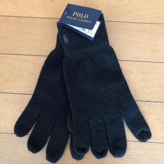 ポロラルフローレン(POLO RALPH LAUREN)の新品タグ付き ラルフローレン  ニット手袋 黒(手袋)