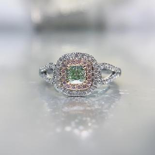 新作グリーンイエローダイヤモンドリング(リング(指輪))