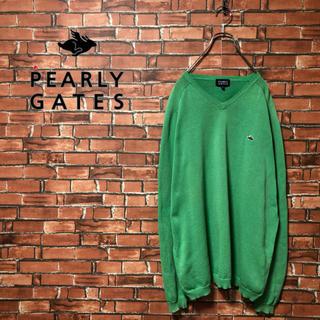 パーリーゲイツ(PEARLY GATES)のPEARLY GATES セーター ワンポイント 緑 L ゆるダボ 古着 90s(ニット/セーター)