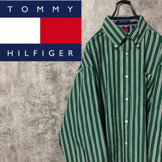 TOMMY HILFIGER - 【激レア】トミーヒルフィガー☆フラッグ刺繍ロゴトリプルストライプシャツ 90s