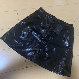 エモダ(EMODA)のEMODA エモダ ☆  スティッチ ミニスカート レザー風 M ブラック(ミニスカート)