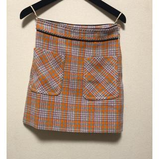 ミュウミュウ(miumiu)のmiumiu タイトチェックスカート オレンジ(ミニスカート)