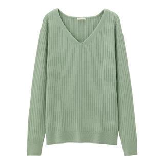 GU - GU ワイドリブVネックセーター Lサイズ ライトグリーン