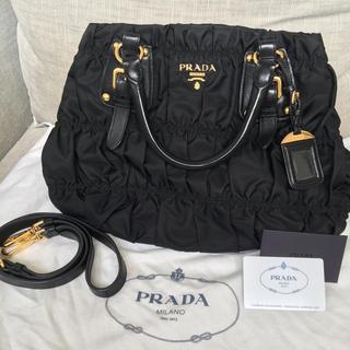 PRADA - PRADA プラダ  2WAY 黒ギャザートートバッグ、ショルダーバッグ 正規品