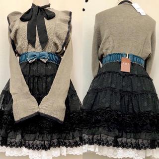 axes femme - 【3点セット】新品ニット、新品リボン型ゴムベルト、巻き薔薇フレアスカート