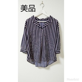 紺  ストライプ  シャツ(シャツ/ブラウス(長袖/七分))