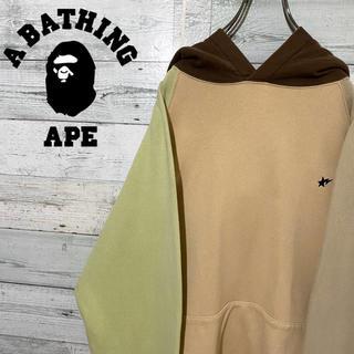 A BATHING APE - 【レア】アベイシングエイプ☆刺繍ロゴ ロゴタグ マルチカラー パーカー