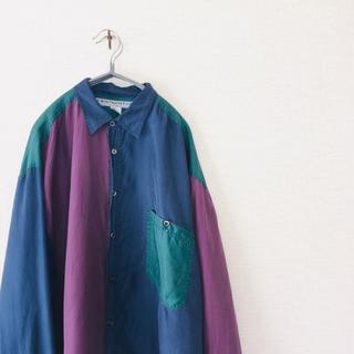 80s 80年代 90s 90年代 ビンテージ クレイジーパターンシルクシャツ(シャツ)
