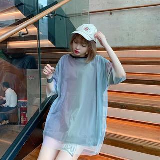 【新品】ビッグシルエット重ね着 Tシャツ グラデーショ(Tシャツ(半袖/袖なし))