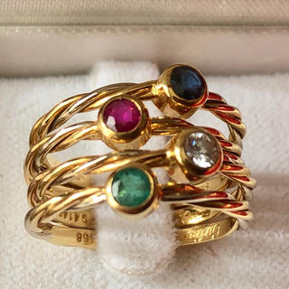 カルティエ(Cartier)のカルティエ Cartier リング スリーカラー ツイスト ダイヤ ルビー(リング(指輪))