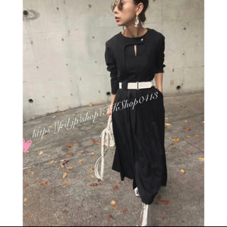 Ameri VINTAGE - BELTED TUCK PLEATS DRESS Ameri ブラック M