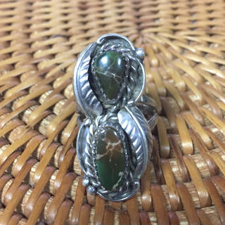 珍しい ユカナイト 指輪 15号 天然石 緑×茶 デザインリング(リング(指輪))