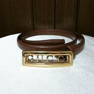 Gucci - GUCCI レザーベルト ブラウン ロゴ ゴールド バックル