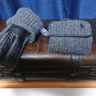 ポロラルフローレン(POLO RALPH LAUREN)の美品 POLO RALPH LAUREN ラムレザー切り替え手袋(手袋)
