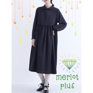 merlot - NEW【merlot plus】ギャザー切替丸襟サテンワンピース ★黒