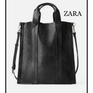ZARA - 【新品・未使用】ZARA フラット トートバッグ ブラック