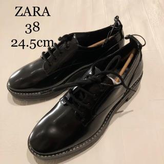 ZARA - 【新品・未使用】 トップステッチ フラット シューズ 24.6cm