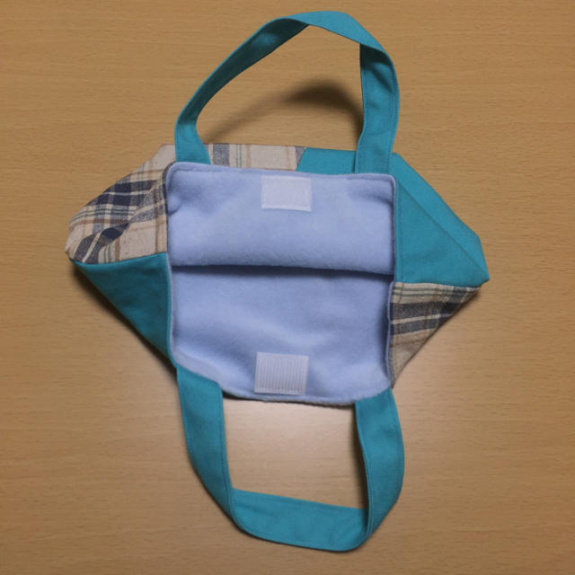 ミニバッグ(青チェック×ブルー) レディースのバッグ(トートバッグ)の商品写真